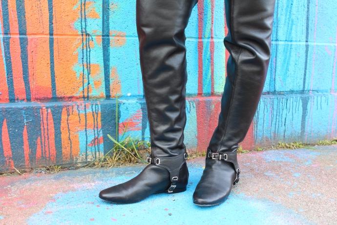 Black Leather Knee High Boots: Karen Millen