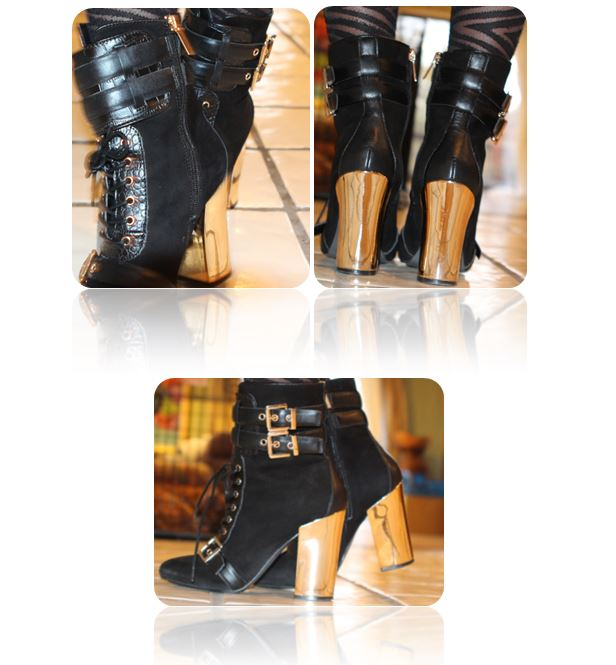 "June Ambrose: Half Calf Leather Bootie ""The Mason"""